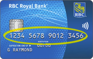 This image shows a sample of the front of a credit card. The credit card number is located in the middle of the card. A yellow marker on the image highlights this location.